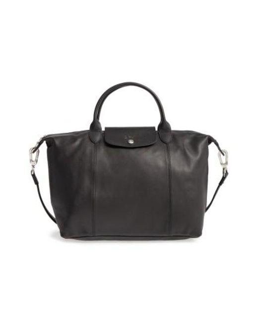 Longchamp   Black 'le Pliage Cuir' Leather Handbag   Lyst