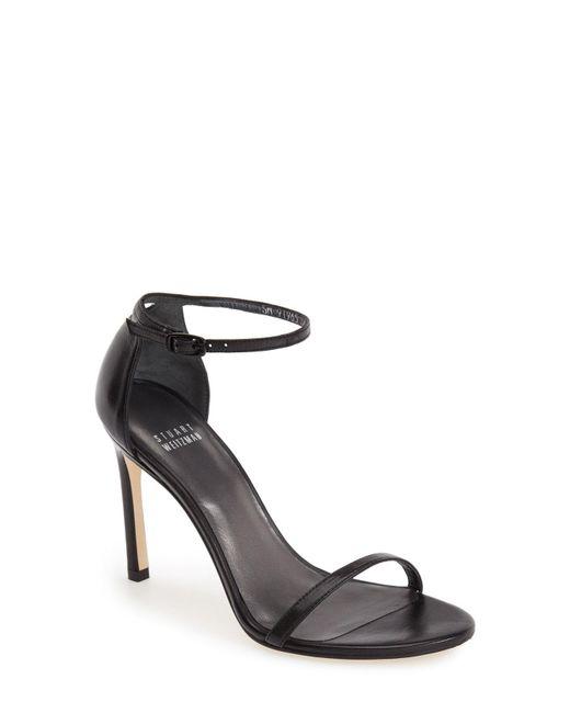 Stuart Weitzman - Black 'nudistsong' Ankle Strap Sandal - Lyst