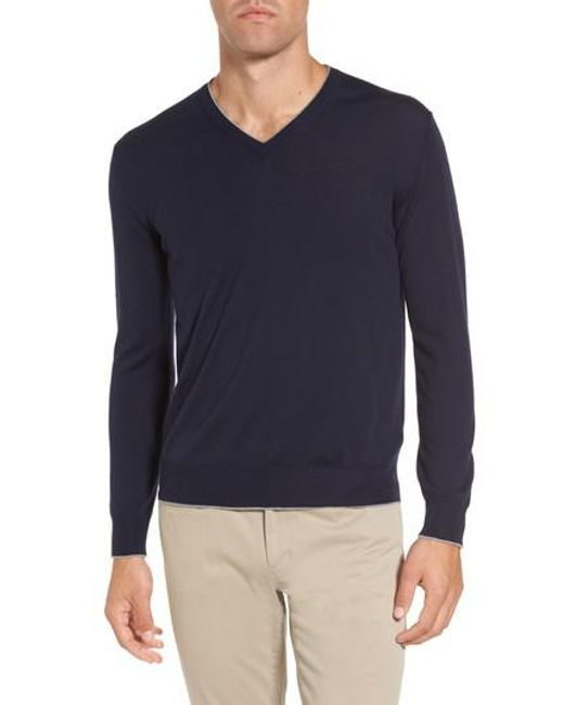 Eleventy - Blue Merino Wool & Silk Tipped Sweater for Men - Lyst