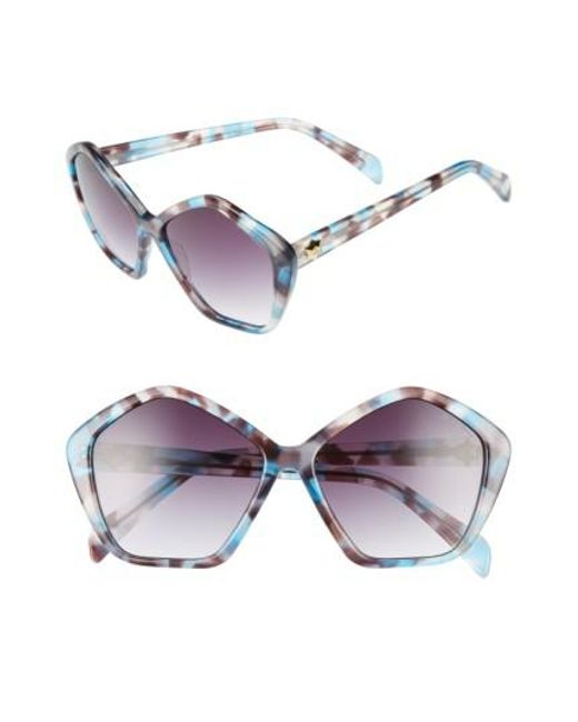 Draper James | Blue 57mm Gradient Lens Geometric Sunglasses | Lyst
