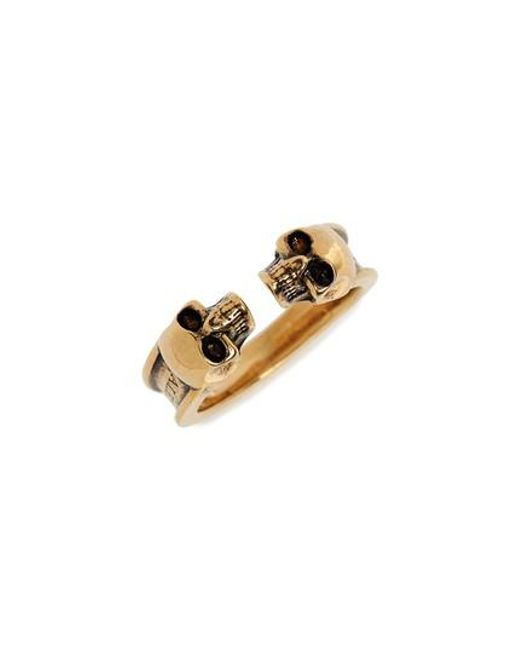 Alexander McQueen - Metallic Twin Skull Brass Ring - Lyst
