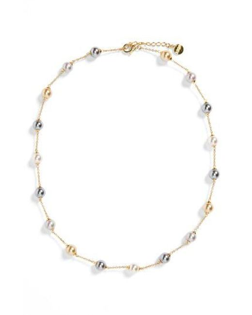 Majorica - Multicolor 8mm Pearl Station Necklace - Lyst
