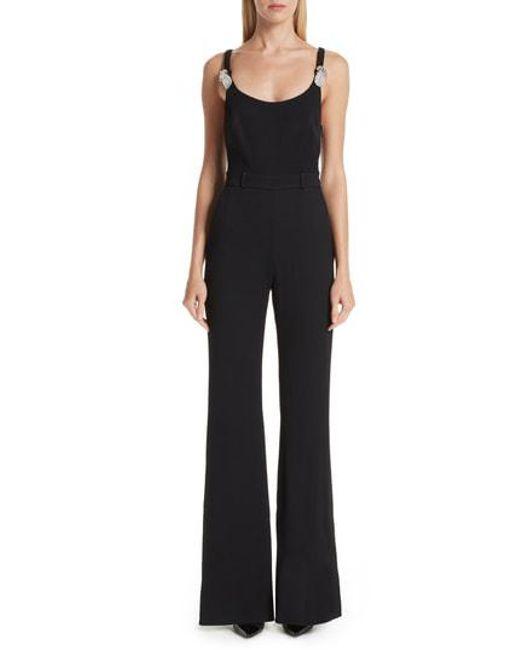 5b6c77e9831 Lyst - Brandon Maxwell Crystal Pineapple Pebble Crepe Jumpsuit in Black