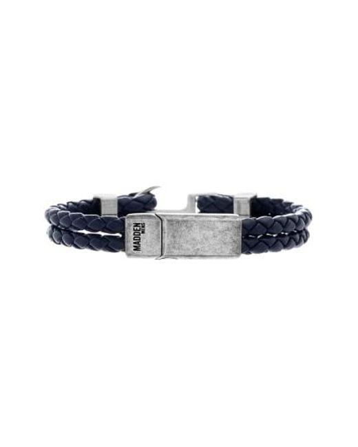 Steve Madden   Blue Braided Leather Bracelet for Men   Lyst