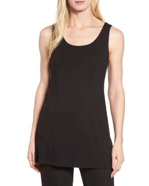 Ming Wang - Black Long Jersey Tank - Lyst