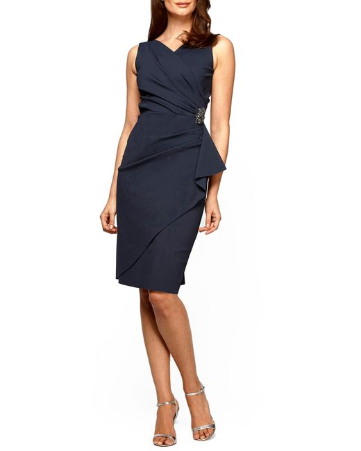 Alex Evenings - Gray Side Ruched Dress - Lyst