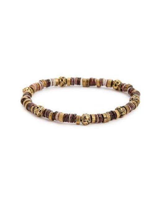Link Up | Brown Lava Rock & Brass Bead Bracelet | Lyst