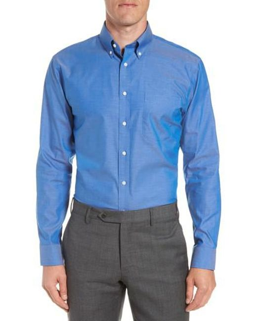 Nordstrom - Blue Trim Fit Non-iron Dress Shirt for Men - Lyst