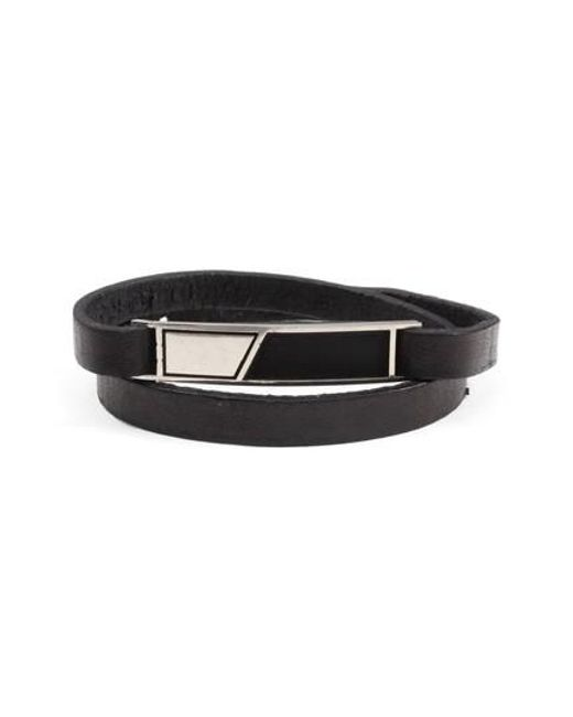 George Frost | Black Dystopia Id Leather Wrap Bracelet for Men | Lyst