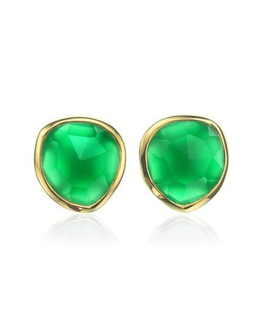 Monica Vinader - Green Siren Stud Earrings - Lyst