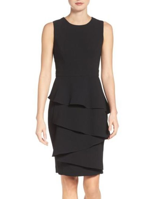 Eliza J | Black Ella Cascade Crepe Sheath Dress | Lyst