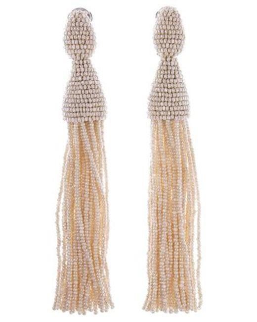 Oscar de la Renta   Brown Long Tassel Drop Earrings   Lyst