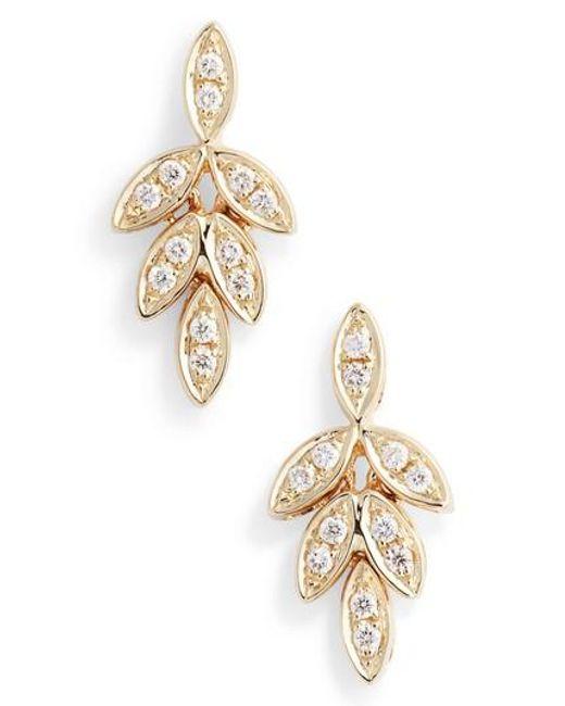 Dana Rebecca - Metallic Dana Rebecca Lori Paige Diamond Leaf Stud Earrings - Lyst