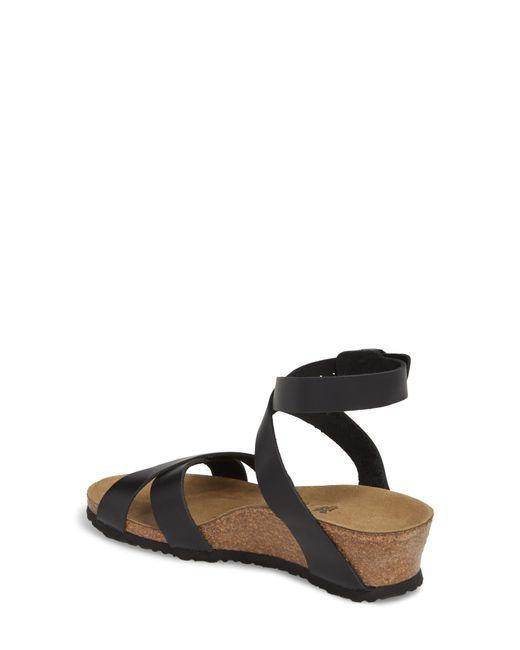 00c568cd316 ... Birkenstock - Black Papillio By Lola Ankle Wrap Strap Wedge Sandals -  Lyst
