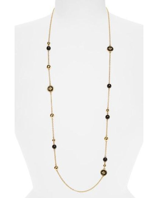 Tory Burch   Metallic Rosary Station Necklace   Lyst