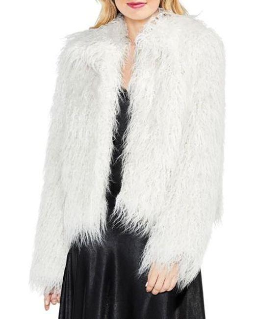 Vince Camuto | White Long Hair Faux Fur Jacket | Lyst