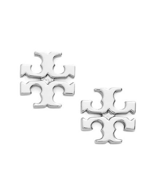 Tory Burch - Metallic Logo Stud Earrings - Lyst