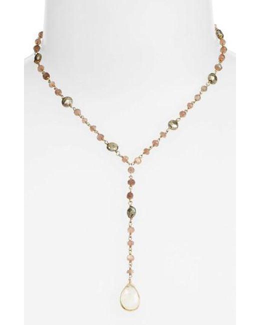 Ela Rae - Metallic Yaeli Midi Satellite Semiprecious Stone Y-necklace - Lyst