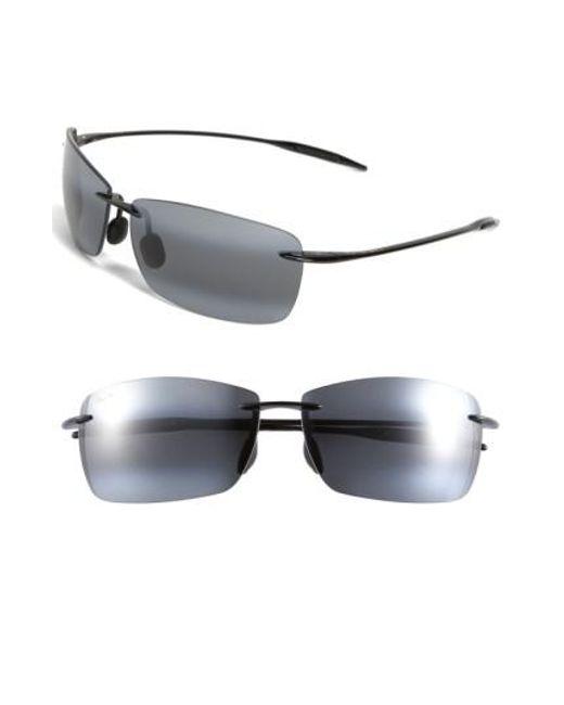 Maui Jim   Lighthouse 65mm Polarizedplus2 Rimless Sunglasses - Gloss Black for Men   Lyst