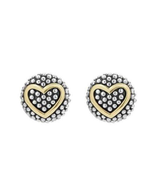 Lagos | Metallic 'caviar' Heart Stud Earrings | Lyst
