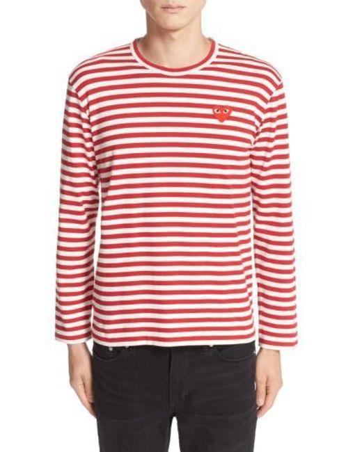 Comme des Garçons | Red Play Stripe Long Sleeve T-shirt for Men | Lyst