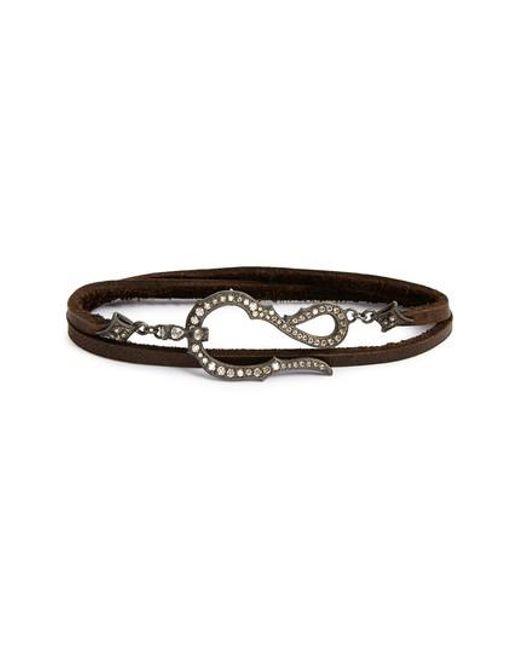 Armenta - Black Old World Midnight Leather & Diamond Wrap Bracelet - Lyst