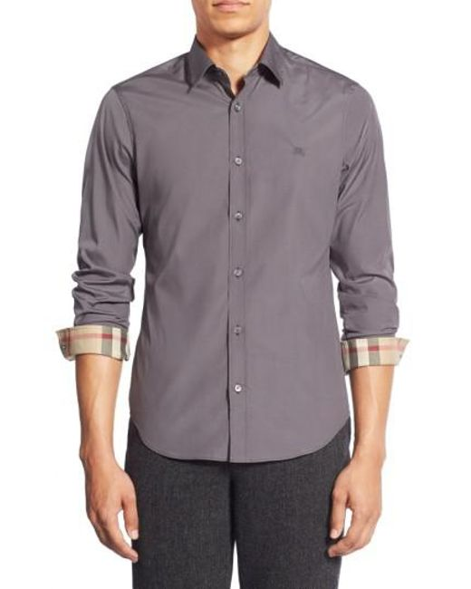 Burberry | Gray Cambridge Aboyd Stretch-Cotton Sport Shirt for Men | Lyst