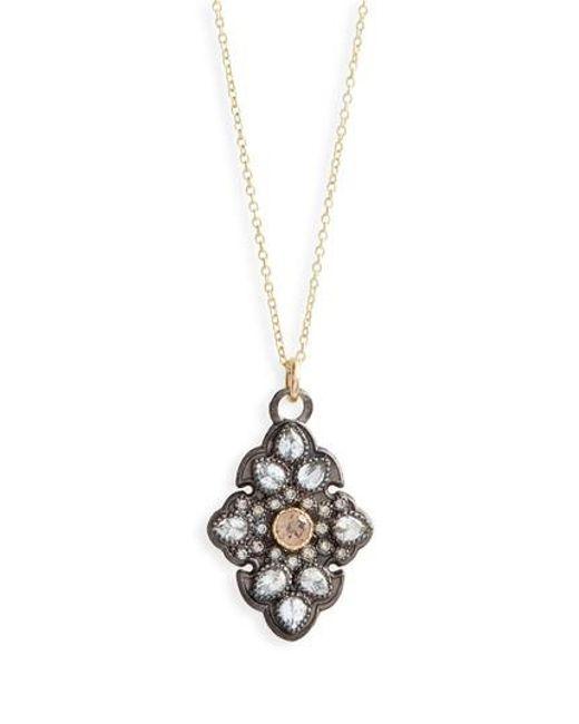 Armenta - Metallic Old World Diamond Pave Pendant Necklace - Lyst