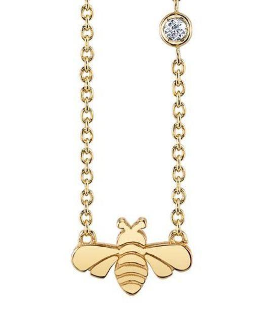 Shy By Sydney Evan | Metallic Bee Pendant Necklace | Lyst