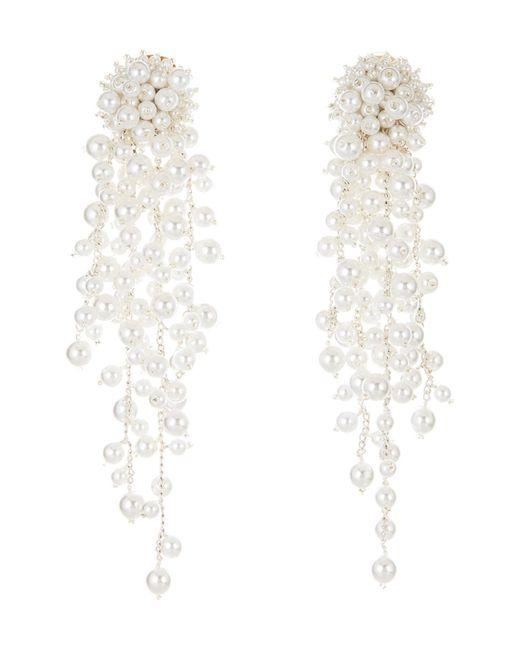 Oscar de la Renta - White Flower Chain Shoulder Duster Clip Earrings - Lyst