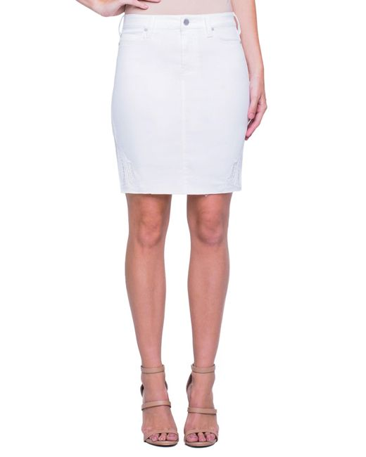 Liverpool Jeans Company - White Embroidered Slit Hem Denim Skirt - Lyst