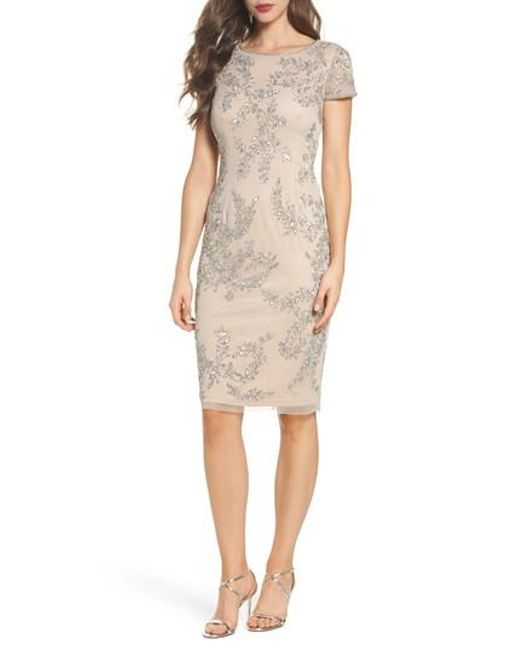 Adrianna Papell - Natural Beaded Sheath Dress - Lyst