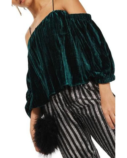 TOPSHOP | Green Cold Shoulder Velvet Top | Lyst