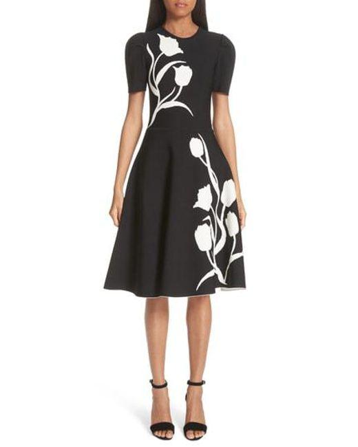 cace9a47dbc8d Women's Black Floral Detail Knit Fit & Flare Dress