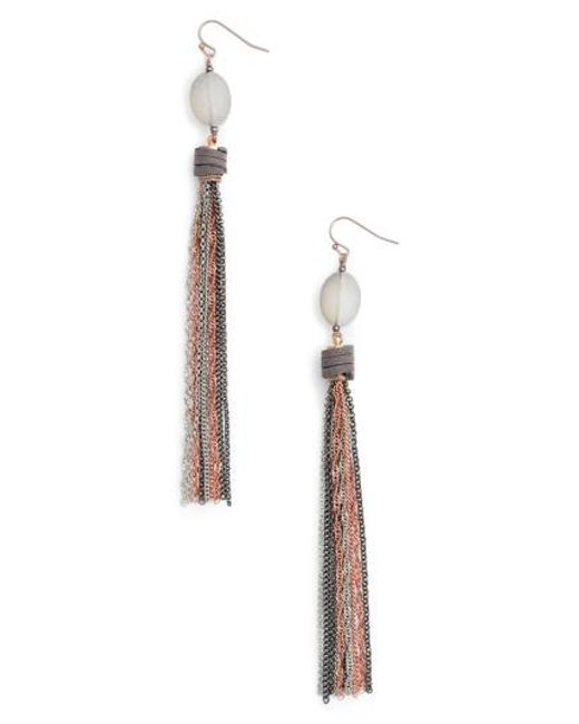 Nakamol | Metallic Chain Tassel Shoulder Duster Earrings | Lyst