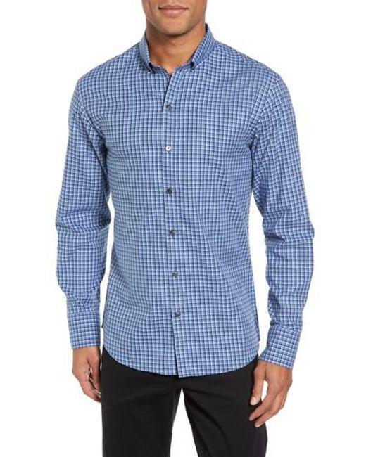 Zachary Prell - Blue Kapur Slim Fit Check Sport Shirt for Men - Lyst