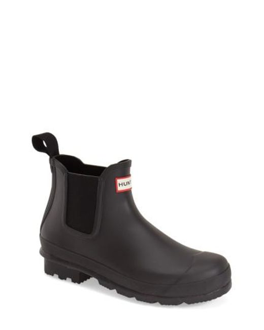 Hunter - Black 'original' Waterproof Chelsea Rain Boot for Men - Lyst