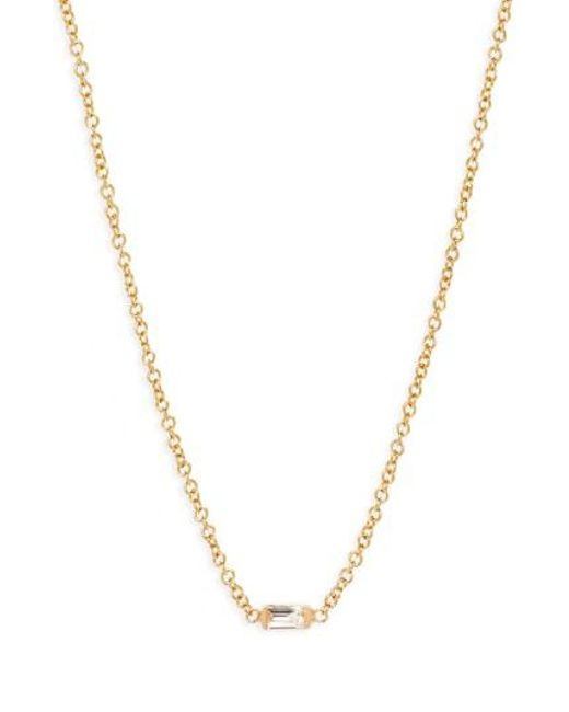 Zoe Chicco - Metallic Diamond Baguette Pendant Necklace - Lyst