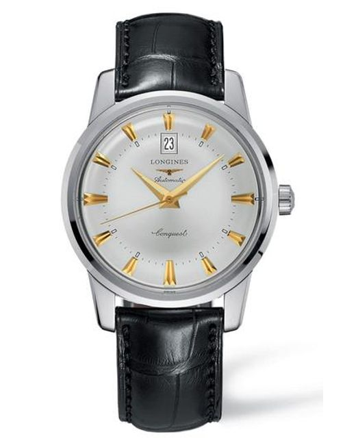 Longines - Metallic Conquest Heritage Automatic Leather Strap Watch for Men - Lyst