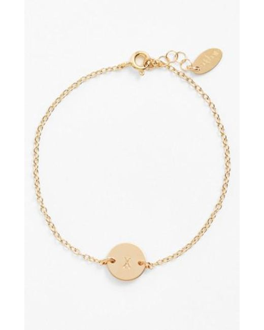 Nashelle | Metallic Initial Mini Disc Bracelet | Lyst