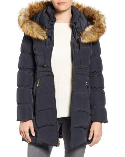 Laundry by Shelli Segal | Blue Hooded Down & Feather Fill Coat With Detachable Faux Fur Trim | Lyst