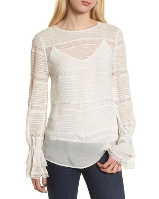 Chelsea28 - White Pintuck & Lace Top - Lyst