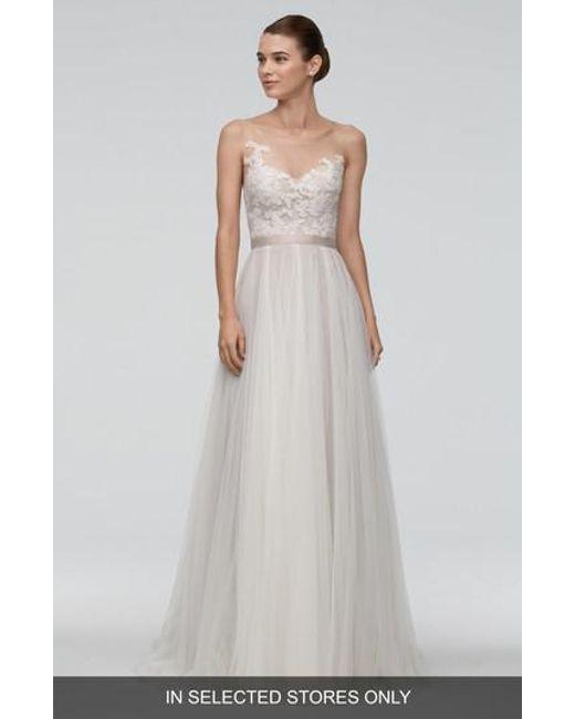 Watters - Multicolor 'azriel' Illusion Neckline Lace & Net A-line Gown - Lyst