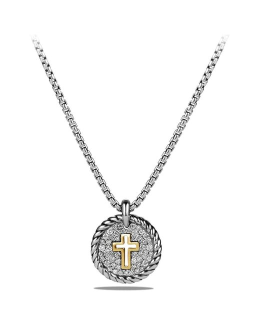 David Yurman - Metallic 'cable Collectibles' Cross Charm Necklace With Diamonds & 18k Gold - Lyst