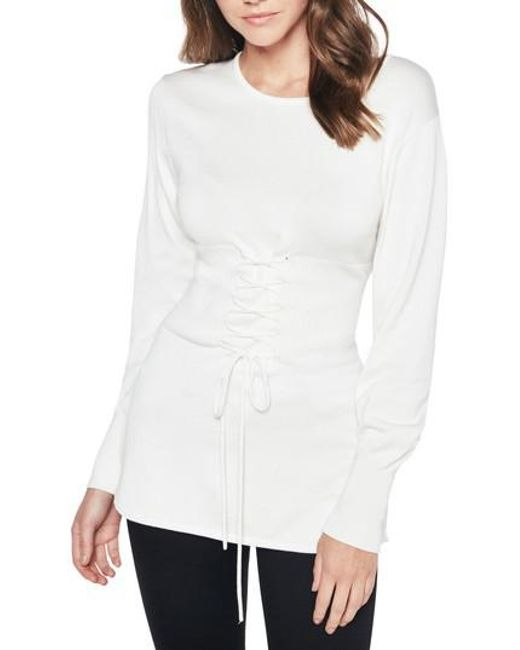 Bardot - White Corset Tie Knit Sweater - Lyst