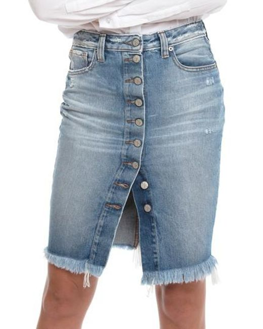 PRPS - Blue Button Down Denim Pencil Skirt - Lyst