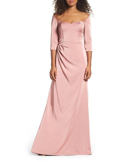 La Femme Pink Sweetheart Satin Gown