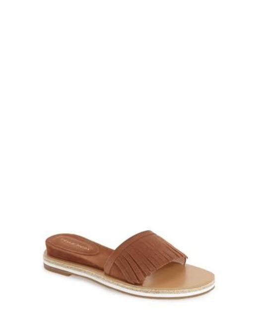 Pelle Moda | Brown 'jade' Fringe Slide Sandal | Lyst