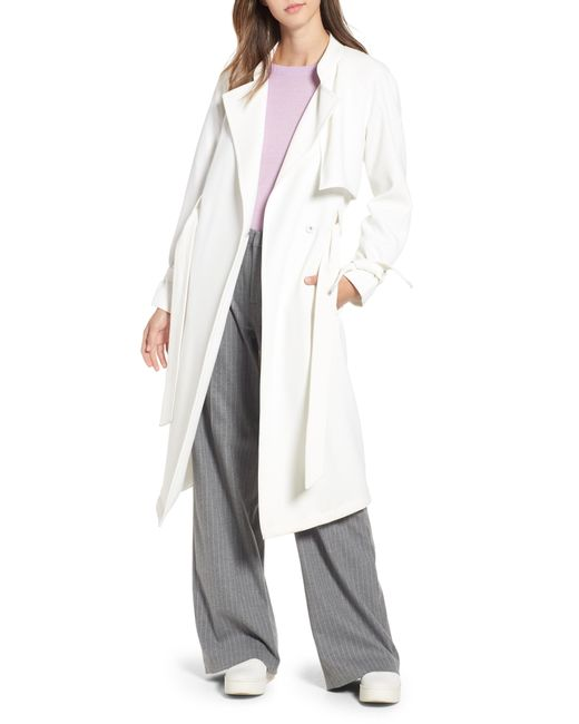 8060570ab1e Lyst - RACHEL Rachel Roy Crepe Wrap Trench in White - Save 17%