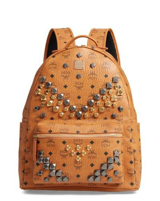 MCM - Brown Medium Stark - Visetos Studded Logo Backpack - for Men - Lyst